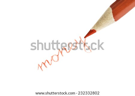Business concept - a red pencil writes on a white background  - stock photo