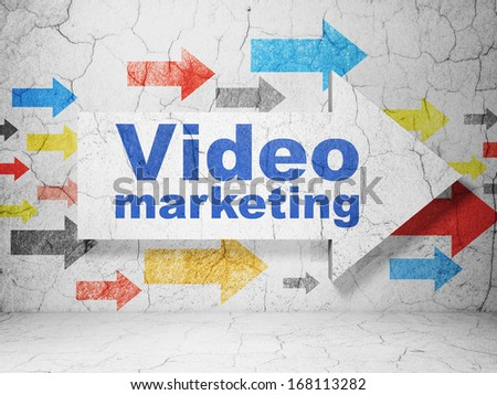 Business concept:  arrow with Video Marketing on grunge textured concrete wall background, 3d render - stock photo