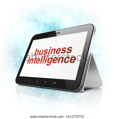 Business concept: black tablet pc computer with text Business Intelligence on display. Modern portable touch pad on Blue Digital background, 3d render - stock photo