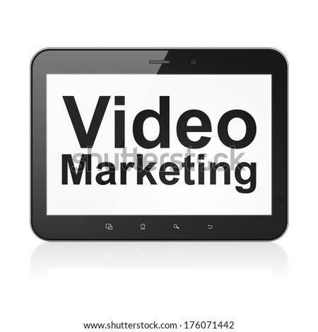 Business concept: black tablet pc computer with text Video Marketing on display. Modern portable touch pad on White background, 3d render - stock photo