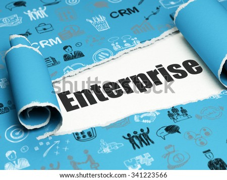Business concept: black text Enterprise under the curled piece of Blue torn paper with  Hand Drawn Business Icons - stock photo