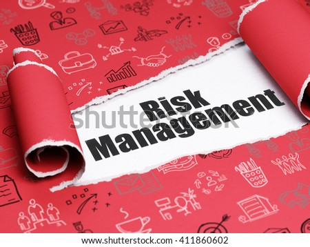 Business concept: black text Risk Management under the curled piece of Red torn paper with  Hand Drawn Business Icons, 3D rendering - stock photo