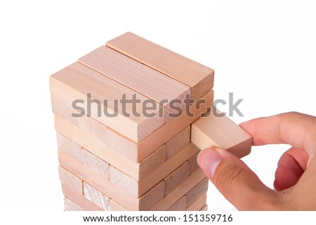 Business concept, blocks of wood, isolated on white background. - stock photo