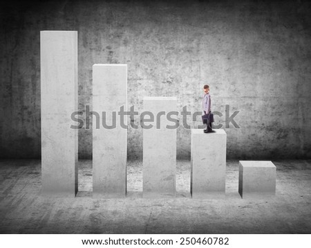 business concept. boy on stage 3D graph - stock photo