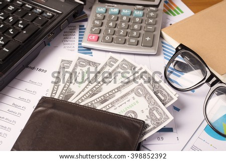 Business concept, Business graph analysis report. Accounting, Money, Tone color