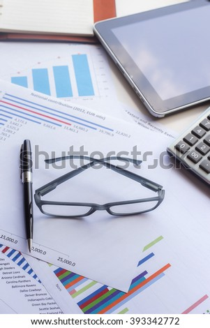 Business concept, Business graph analysis report. Accounting, Tone color