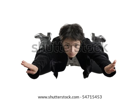 business concept - business woman falling down in free style without a parachute