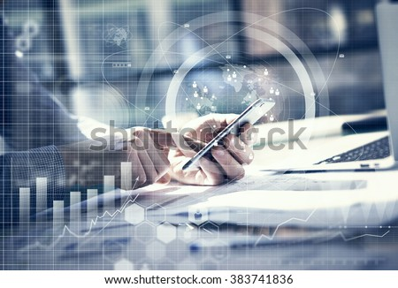 Business concept. Businessman working generic design laptop. Touching screen smartphone. Worldwide connection technology interface. Horizontal mockup. - stock photo