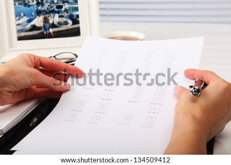 Business Concept - Businesswoman, Office and Document