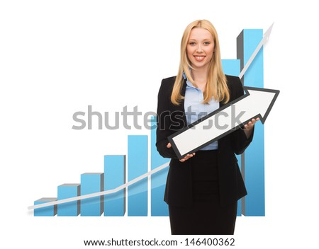 business concept - businesswoman with rising graph and arrow directing up - stock photo
