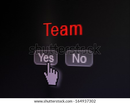 Business concept: buttons yes and no with pixelated word Team and Hand cursor on digital computer screen, selected focus 3d render - stock photo