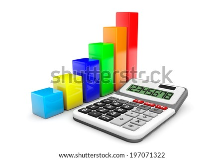 Business Concept. Calculator and colorful chart on a white background - stock photo