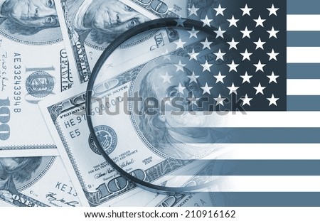 Business concept, calculator and magnifying glass on banknotes  - stock photo
