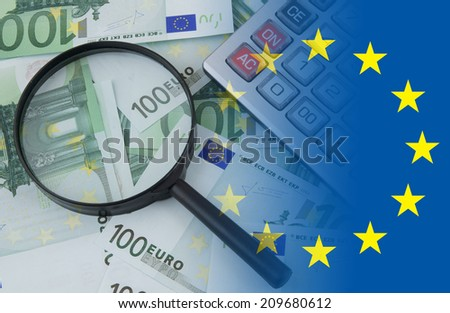 Business concept, calculator and magnifying glass on euro banknotes  - stock photo