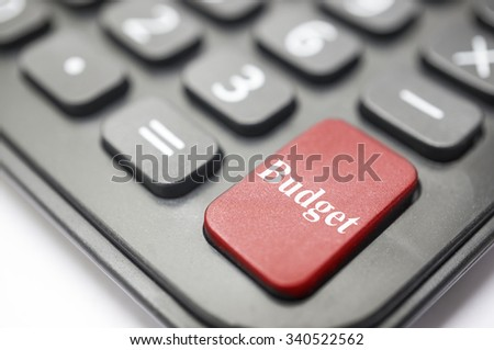 Business concept Calculator button bold in red with Budget written on it. - stock photo