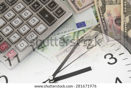 Business concept, calculator, clock on money background