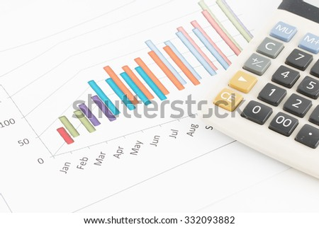 Business concept : Calculator on graph background. - stock photo