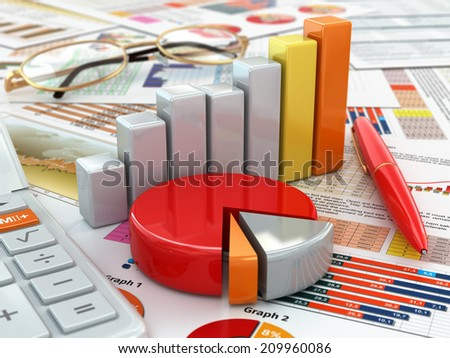 Business concept. Calculator, pen, glasses, graph and charts. 3d - stock photo