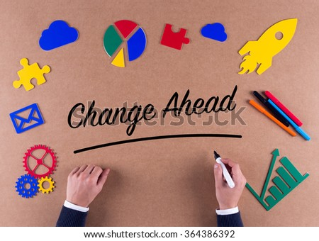 Business Concept-Change Ahead word with colorful icons - stock photo