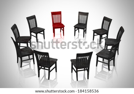 Business concept - Circle of chairs red and black - stock photo