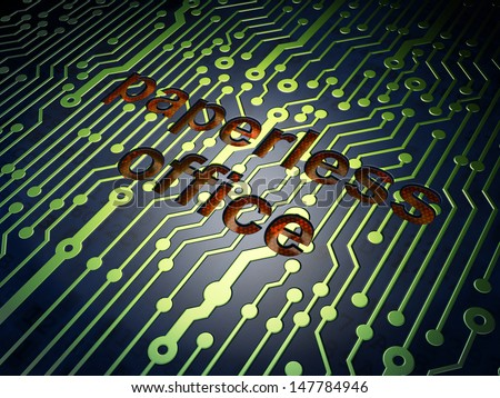 Business concept: circuit board with word Paperless Office, 3d render - stock photo
