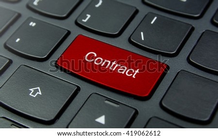 Business Concept: Close-up the Contract button on the keyboard and have Red color button isolate black keyboard - stock photo