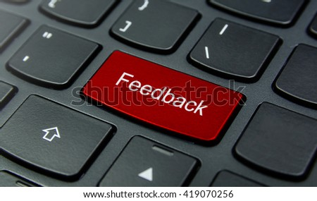 Business Concept: Close-up the Feedback button on the keyboard and have Red color button isolate black keyboard - stock photo