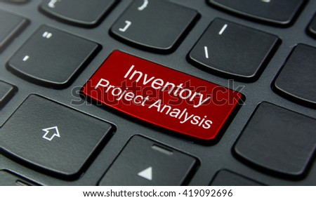 Business Concept: Close-up the Inventory Project Analysis button on the keyboard and have Red color button isolate black keyboard - stock photo