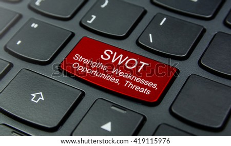 Business Concept: Close-up the SWOT Strengths, Weaknesses, Opportunities, Threats button on the keyboard and have Red color button isolate black keyboard - stock photo