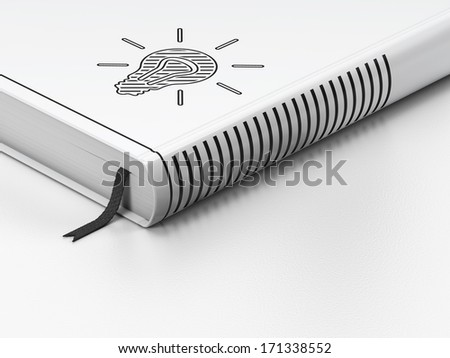 Business concept: closed book with Black Light Bulb icon on floor, white background, 3d render