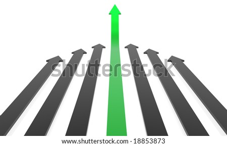 Business concept: Competition, success. 3D rendered Arrows. - stock photo