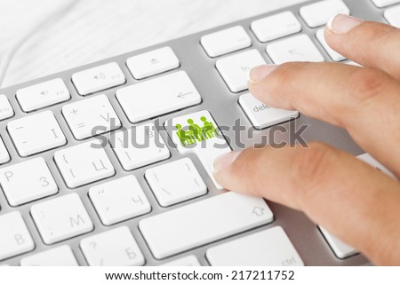 Business concept: computer keyboard with Business Meeting, selected focus on enter button background - stock photo