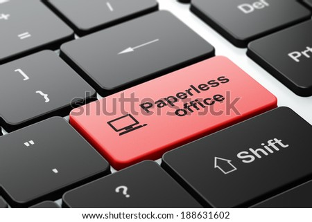 Business concept: computer keyboard with Computer Pc icon and word Paperless Office, selected focus on enter button, 3d render - stock photo