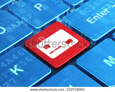 Business concept: computer keyboard with Credit Card icon on enter button background, 3d render - stock photo