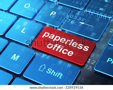 Business concept: computer keyboard with word Paperless Office on enter button background, 3d render - stock photo