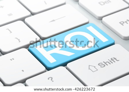 Business concept: computer keyboard with word ROI, selected focus on enter button background, 3D rendering