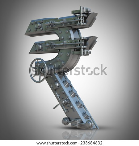 Business concept. currency Indian rupee symbol and banking safe. High resolution 3D  - stock photo