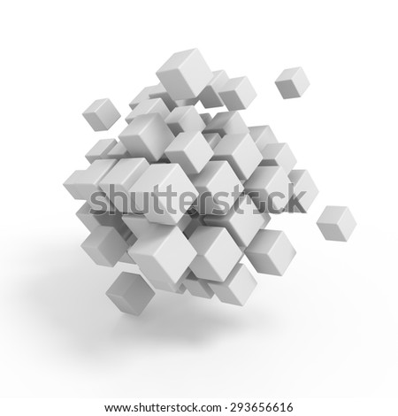 Business concept - 3D design cubes render on white - stock photo