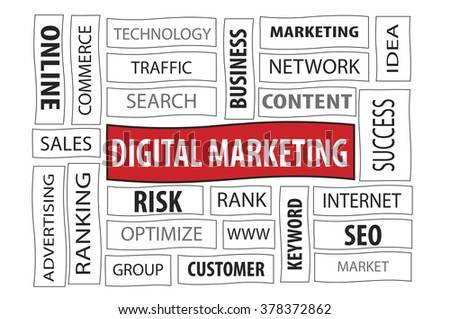 Business Concept: Digital Marketing word cloud on white background - stock photo