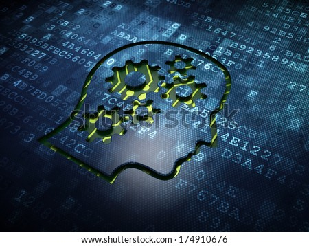Business concept: digital screen with icon Head With Gears, 3d render - stock photo