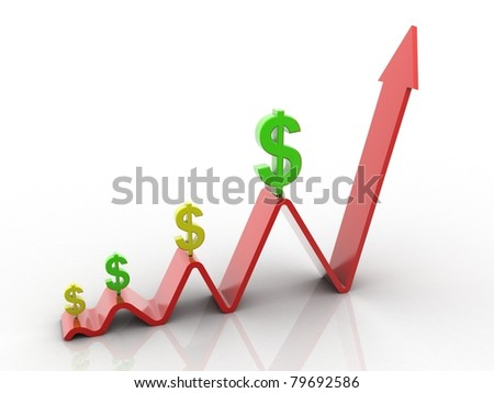 business concept dollar's value increase - stock photo