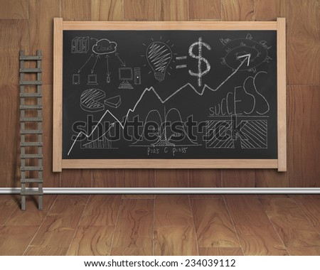business concept doodles drawn on black chalkboard with wooden stepladder, teak wooden wall and floor background - stock photo