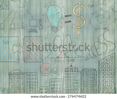 Business concept doodles on old green wooden wall background - stock photo