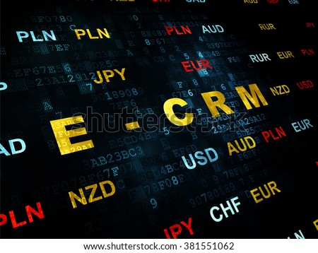 Business concept: E-CRM on Digital background - stock photo
