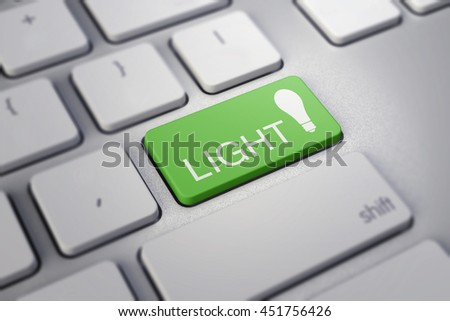 Business concept: Enter button with Text light and a Light Bulb on computer keyboard, 3d render