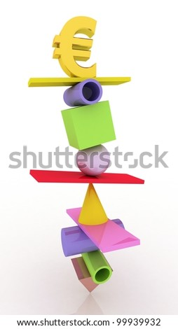 Business concept, euro 3D images - stock photo