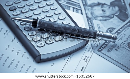 Business Concept Financial Calculator Pen Dollar - stock photo