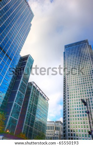 Business concept financial district modern skyscrapers - stock photo