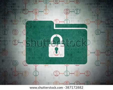 Business concept: Folder With Lock on Digital Paper background