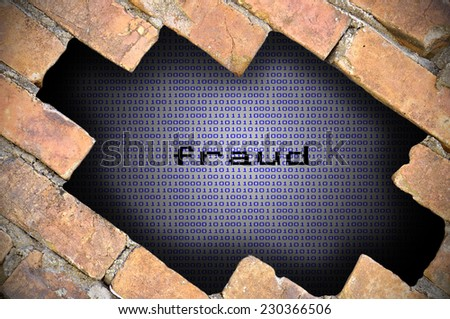 Business Concept For Data Security - Hole In Brick Wall With Binary Digit Background Inside With Fraud Word. - stock photo